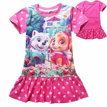 New 2017 Baby Girls Summer Dress Children Clothes Cartoon Printed Dog Pattern Casual Girl Kids dress