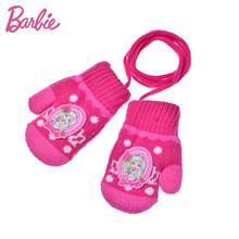 Barbie Lovely Girl Glove Winter Warm Princess Cute Cartoon Children Gloves for Girls Plus Velvet High Elasticity Gilrs G(China)