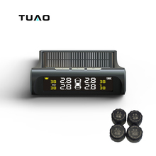 TUAO Car TPMS Tire Pressure Monitoring System Solar Power charging LCD Display External Sensor Auto Alarm System Car electronics(China)