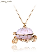 Hot Sale Lovely Cinderella Pumpkin Car Gold Plate Pendants Necklaces Long Chain Necklace Halloween Christmas Gift Free Shipping(China)