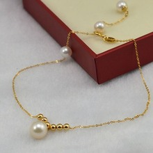 New Pure Au750 18K Yellow Gold Unique O Link Lucky Bead Elegant Pearl Woman's Adjustable Anklet