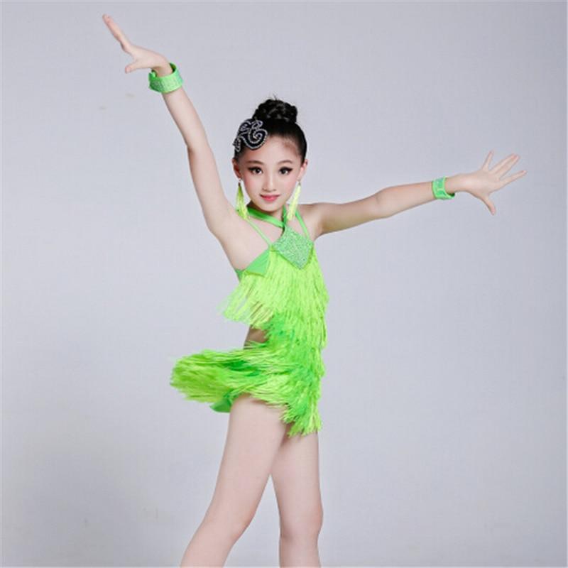 100-160cm Girls Fairy Lithe Christening Fringe Paillette Latin Dance Dress Tassel Salsa Kids Ballroom Dresses Tango Costume<br>