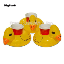 Cute Yellow Inflatable Duck Floating Drink Holder Pool Beach Party Suppliers Hot sell  For Summer