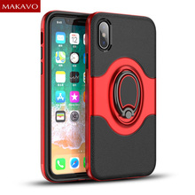 MAKAVO NEW For iPhone X Case Car Magnetic Ring Holder Hybrid Phone Cases For iPhoneX iPhone 10 Cover(China)