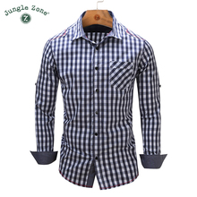 JUNGLE ZONE european size 2017 New Arrival Men's shirt Long Sleeve Plaid Shirts Mens Dress Shirt Brand Casual Shirts 105