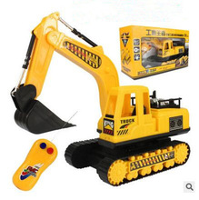 Wireless Electric remote control excavator toy car Engineering rc car childrent's gift boys favorite,flashing remote control car(China)