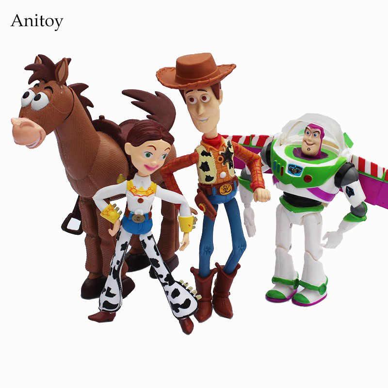 4 unids set Anime juguete historia 3 Buzz Lightyear Woody Jessie PVC figura  de acción 06eb4a2f127