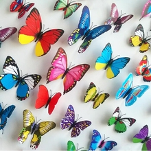 10pcs/lot 3D PVC Magnet Butterfly DIY Home Decoration Kids Room TV Kitchen Child Decals(China)