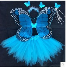 Angel Butterfly Wings and Tutu Skirts Halloween Cosplay Costumes For Fairy Girls Kids Performance Costumes Free Shipping(China)