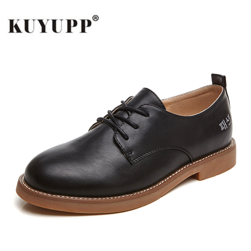 KUYUPP Women Leather Flat Shoes Spring Autumn Oxford Shoes for Women Round Toe Ladies Casual Shoes sapato feminino 2017 New S183<br><br>Aliexpress