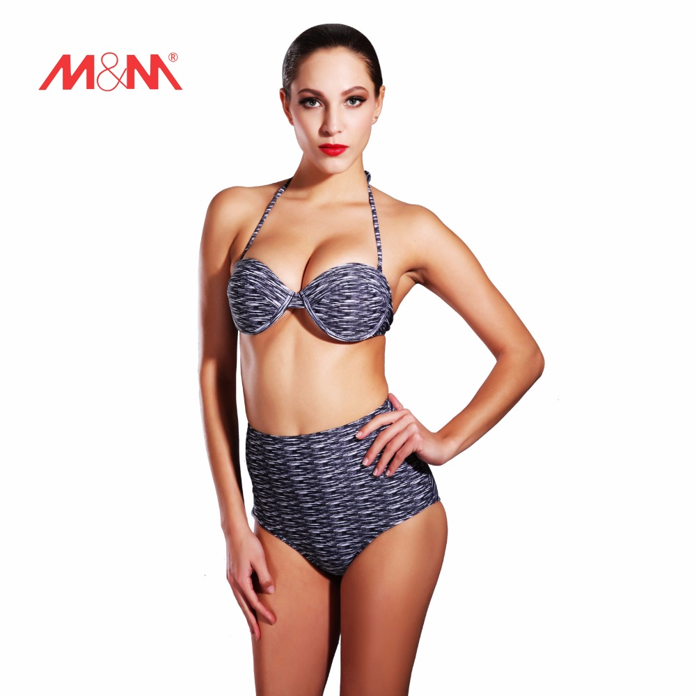 2016 Hot Vintage Print High Waist Push Up Bikini Swimsuit Sexy Bathing Suit Bikini Set Swimwear Maillot De Bain SAKJ1646HUS<br>