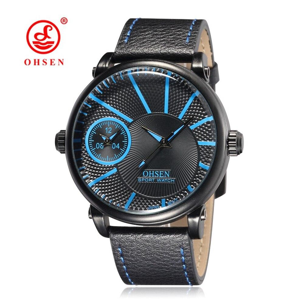 NEW OHSEN Fashion Male Business Clock Quartz Watches Man Mens Wristwatch Army Leather Band Reloj Masculino Blue Waterproof Watch<br><br>Aliexpress