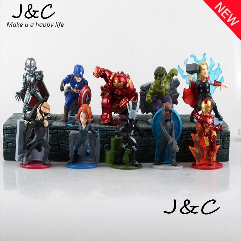 Cartoon The Avengers 2 Super Hero Hulk/ Thor /Iron Man/Black Widow 10cm Action PVC Figures Model Toys 10PCS/SET<br><br>Aliexpress