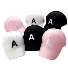 Letter A Hats New 2017 Adult Kids Adjustable Baseball Caps Snapback Hats Hip-Hop Boys Caps 3 Colors Pink Black White(China)