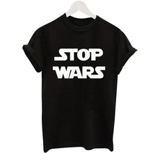 "Aliexpress eBay new ""stop wars"" letter printing black short sleeved t-shirt female goods(China)"