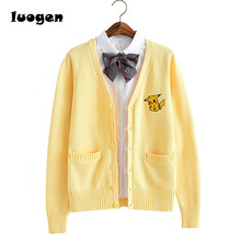 Pokemon Pikachu Embroidery Sweater Women Cardigan Knitted Sweater Coat Long Sleeve Casual V-Neck JK School Uniform Cosplay