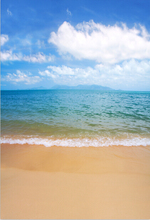 5X7ft Clouds Sky Summer Blue Sea Waves Sand Beach Custom Photography Studio Backgrounds Backdrops Vinyl F1310