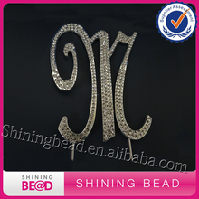 Free Shipping 20 PCS Monogram Letter M Initial Wedding Cake Topper Rhinestone Silver Metal Decoration(China)