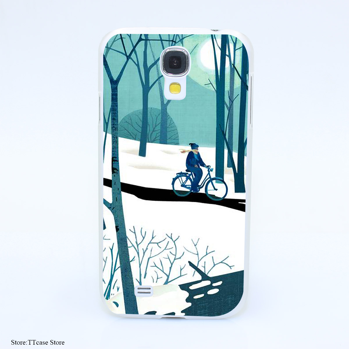 4079CA Winter Bike Hard Transparent Case Cover for Galaxy S2 S3 S4 S5 & Mini S6 S7 & edge Plus