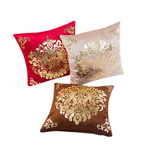 Cushion Covers Floral Gold Velvet Luxury Pillow Case for Sofa Bed Vintage Cushion Cover Home Decor Capas De Almofada Cheap to se