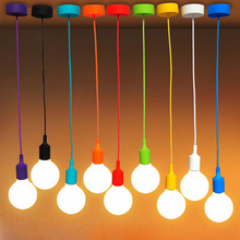 E27 Lamp Hloder 90cm Core Colorful Silicone Pendant Lamps Vintage Edison Light Bulbs For Bar/Restaurant /Bedrooms Deco Lighting(China)