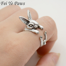 Drop Shipping Vintage Fashion Rabbit Ring Hippie Chic Bunny Ring Boho Mid Finger Adjustable Animal Rings For Women Men Jewelry