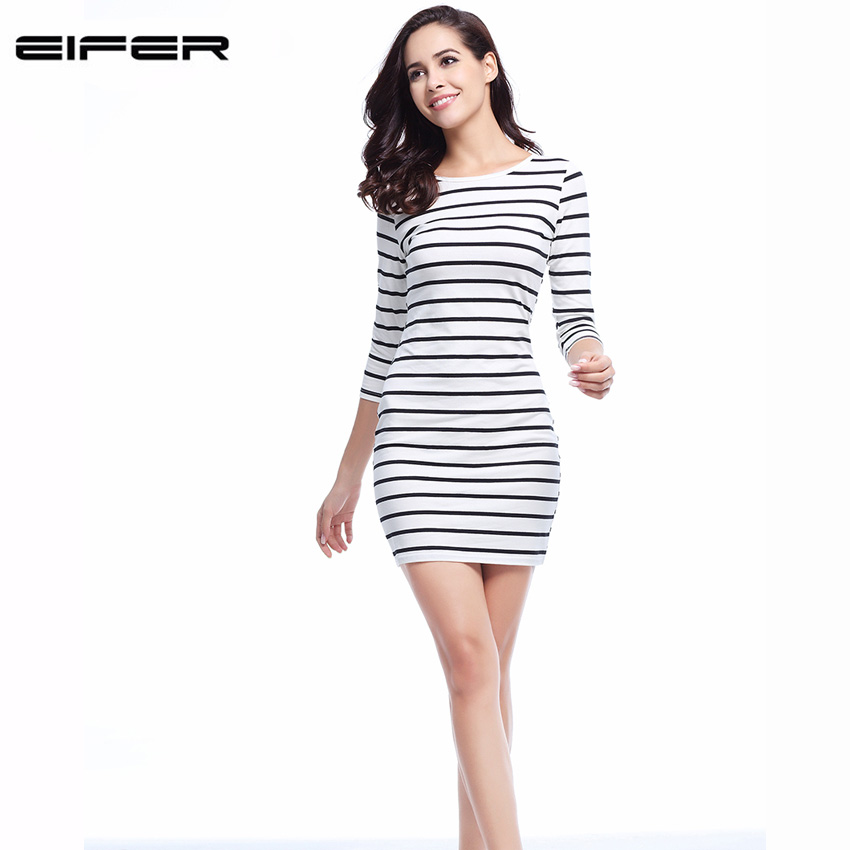 Ženska odeća ... Haljine ... 32616030329 ... 4 ... 2018 New Spring Summer  Women Round Neck Fashion Black and White Striped Long Sleeve Straight Plus Size Casual Dress ...