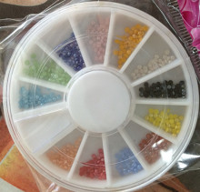 1mm MINI Beads Acrylic Nail Art Decoration Wheel Stickers For Nail Art Crystal stone Nail Supplier