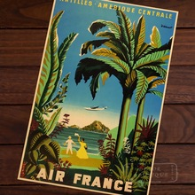 Air France Amerique Map Vintage Travel Poster Classic Retro Kraft Decorative Maps Wall Sticker Home Bar Posters DIY Decor Gift