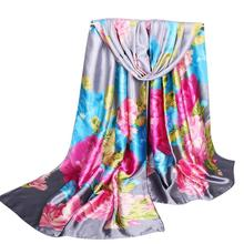 FEITONG Fashion Women Peony Printing Long Soft Wrap Scarf Ladies Shawl Satin Scarves Fashion Winter Scarves for women Bandan *25(China)