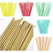 25pcs/lot Chevron Paper Straws for Kids Birthday Wedding Decorative Party Straws Event Supplies Paper Drinking Straws