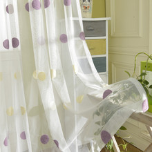 Large Dot Embroidered Sheer Curtains For Living Room Korean Style Tulle Volie Window Curtains Screen Rideau Voilage Cortinas(China)