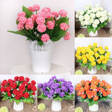 New Multi Color Realistic 8 Heads Branches Spring Artificial Flower Arrangement Home Table Room Hydrangea Decor(China)