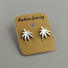 Fashion jewelry gold silver color Maple Leaf stud for women men lovers' gift 1lot=2pairs E3275