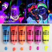 6Pcs Luminous Body Makeup Flash Painting colorful Drawing Pigment 10ML Face Paint Grease Art Glow Fancy Party Paint Non-toxic A2(China)