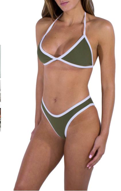 Sinful Green Basic Strings Bikini Set Yoins Images 1