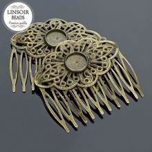10pcs/lot 10Teeth Metal Hair Comb With Cabochon Settings Hair Clips For Women Jewelry Components Wedding Hair Findings F5022