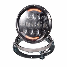 1set 7''105W Black LED Headlight  Amber Angel Eyes with 7'' Headlight Mounting Bracket Ring For Harley Jeep Wrangler JK TJ CJ