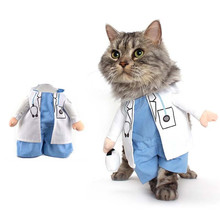 Funny Dogs Cat Costume Doctor Suit Pet Clothes Uniform Clothing for Puppy Dogs Chihuahua Business Outfit PT0991(China)