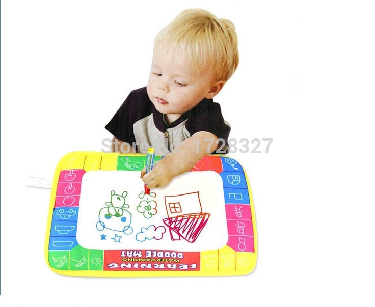 Free shipping 29X19cm CP1366 4 color Water Drawing Toys Mat Aquadoodle Mat&1 Magic Pen/Water Drawing board/baby play mat WJ028(China (Mainland))