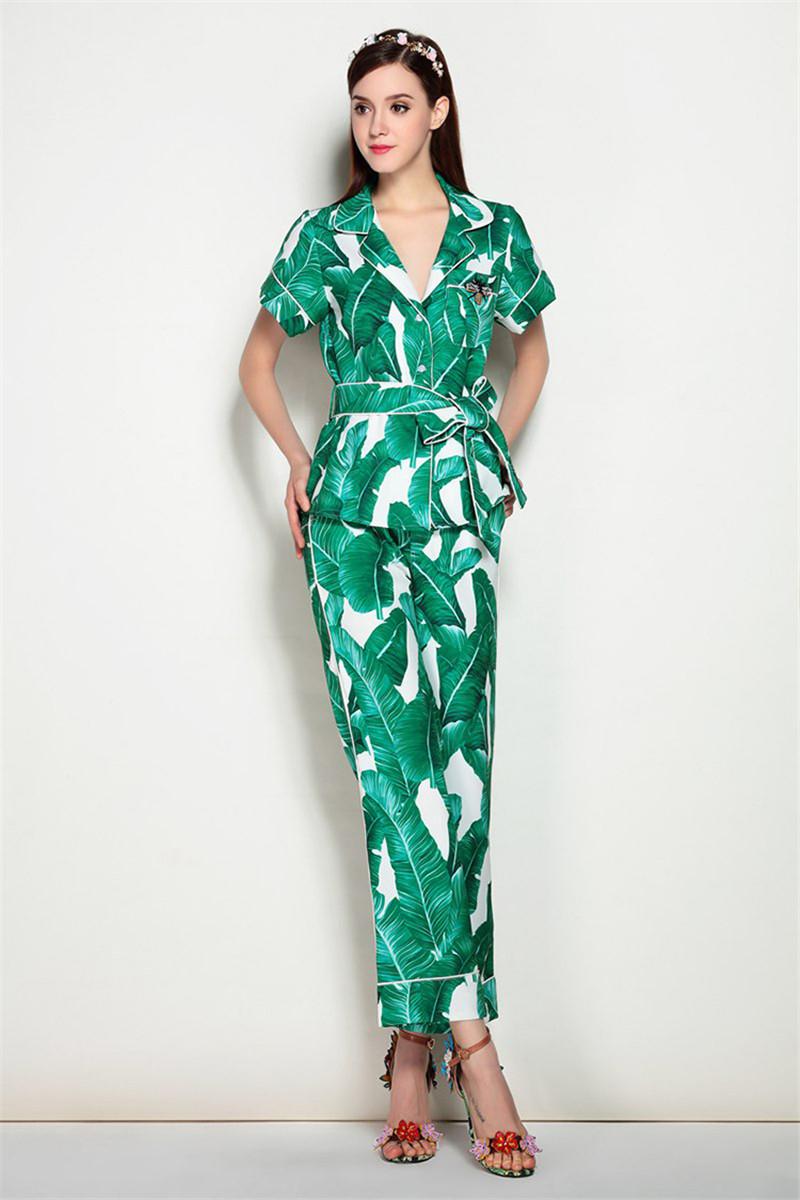 Brand Fashion Two Piece Set Women Runway Suit Fashion Green Leaf Print Dragonfly Beading Shirt + Elastic Waist Pants Sets 8