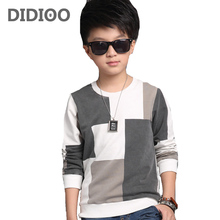 Plaid T-Shirts For Boys Clothing Children Tops 5 9 11 13 Years Long Sleeve School Boys Tees Cotton Casual 2016 Teenager Clothes(China)