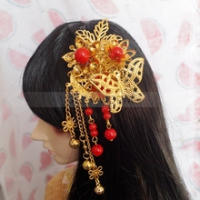"OOAK Red Bead Golden Chinese Style Hairpin For Female 1/4 17"" and 1/3 24"" Tall BJD doll SD MSD DK DZ AOD DD Doll use(China)"