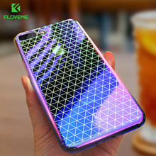 FLOVEME Luxury Grid Case For iPhone 6 7 Gradient Ultra Thin Hard Fitted Cases For iPhone 6 6s Plus 7 Clear Phone Bag Cover Coque(China)