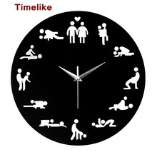 2017 New Arrival Sex Position Clock Modern Novelty Wall Clock For Wedding Lover Sexual Culture Wall Watches Relogio Living Room