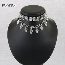 FANYINAN New Vintage Ethnic Chunky Bohemian Gypsy Fringe Tassel Collar Statement Boho Silver Turkish Pendant Necklace Jewelry
