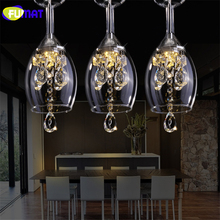 FUMAT K9 Crystal LED Wineglass Chandelier Modern Creative  Spiral Suspension Lighting Restaurant Villa Lobby Hanging luminaire