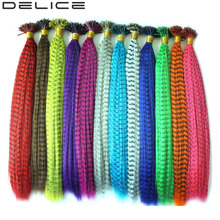 [DELICE] 100s/Pack 16inch Women's Multicolour I Tip Hair Extensions Synthetic Straight Grizzly Rooster Hair Pieces, 0.5g/Strand(China)