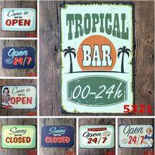 5pcs/lot Retro Open Signs Metal Wall Decor Plaque Coffee Shop Advertising Poster Pub Bar Painting