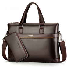 Famous Brand Fashion Casual Genuine Leather Men's 2 Set Bag Shoulder Bag Messenger Bags Business Handbag Laptop Male Briefcase
